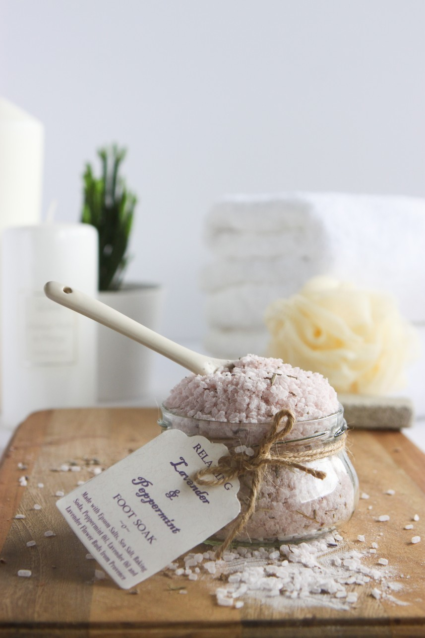 DIY lavender and peppermint foot soak