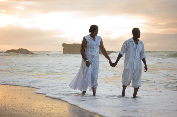 mum and dad on beach trinidad