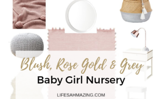 pink and grey nursery with rose gold accents moodboard and ideas