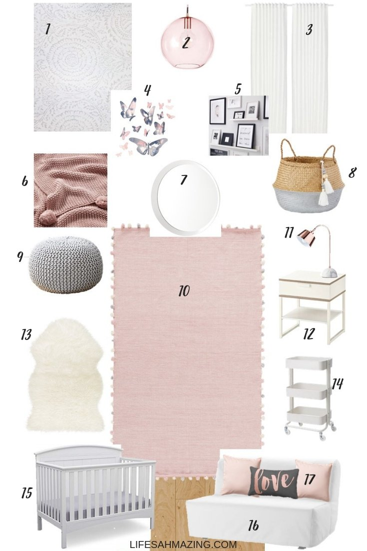 Get the look: Chic Blush, Rose Gold and Grey Baby Girl Nursery
