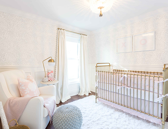 Chic Blush Rose Gold And Grey Nursery
