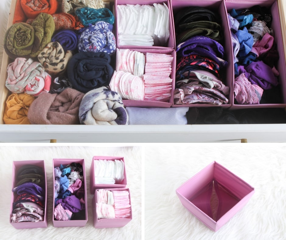 Use canvas or fabric boxes such as Ikea SKUBB box set