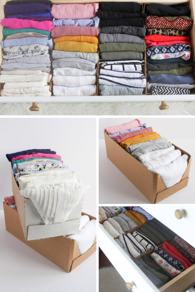 Product packaging and grocery boxes used as clothes storage