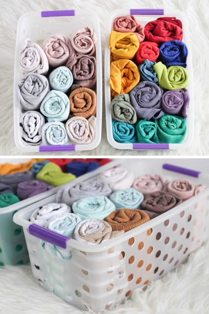 Use cheap plastic bins and baskets for camis and vests