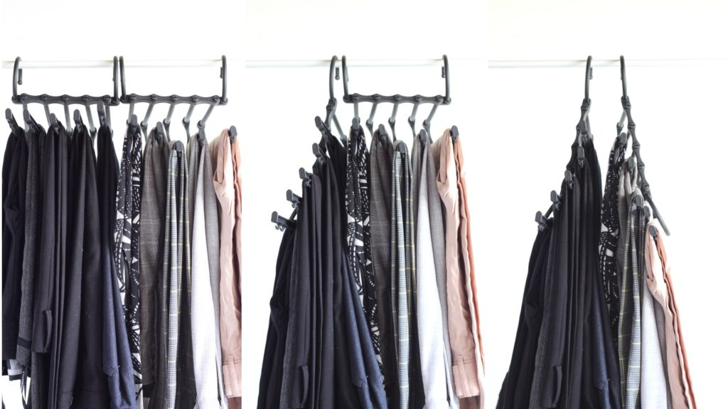 Use space-saving pant hangers to maximize storage