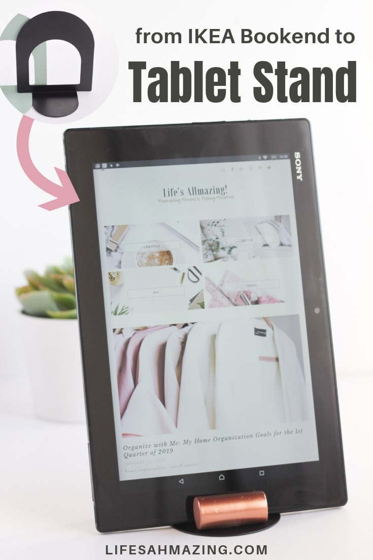 Make this super easy DIY Tablet Stand from an Ikea Bottna Bookend. 4 materials and less than 10 minutes are all you need for this easy #diyproject. #diyhomedecor #ikeahack
