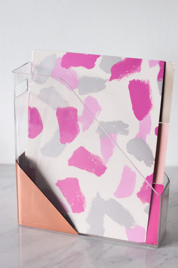 acrylic and copper file holder with pretty files