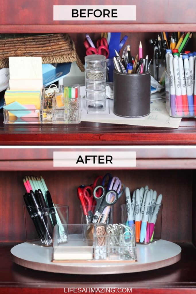How to make an easy DIY Lazy Susan using a wooden cutting board to organize your desk supplies. #diydecor #organization #homedecor #homeorganisation