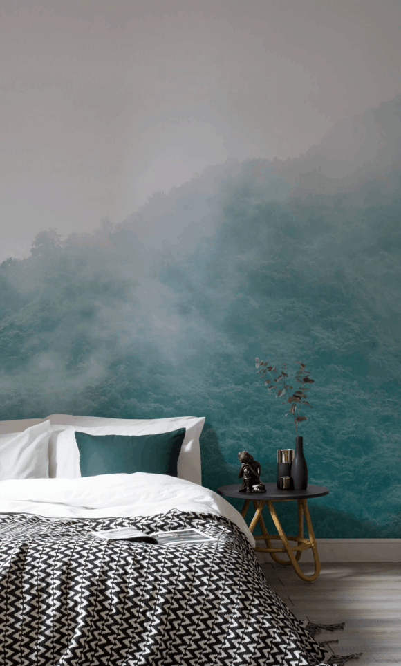 calming wallpaper mural as headboard
