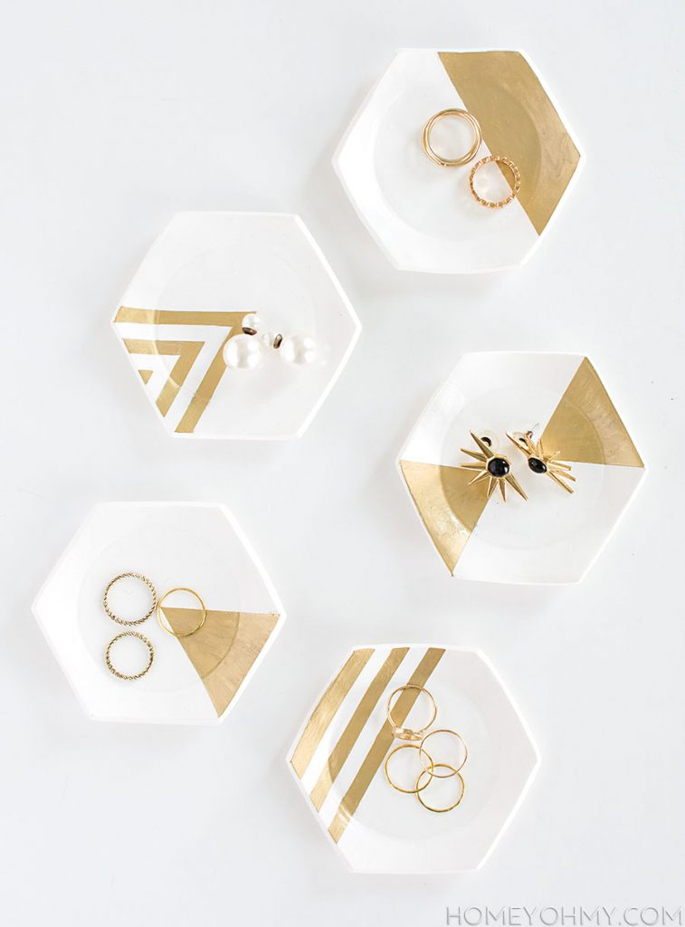 Stylish DIY Jewelry Organizers - Hexagon Ring Dishes DIY
