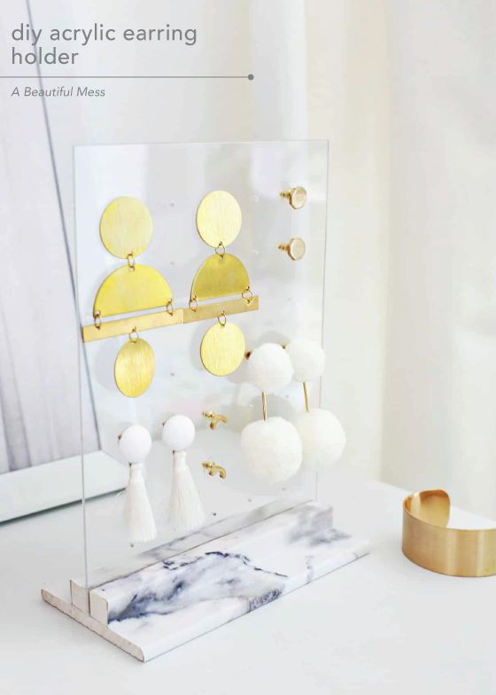 Stylish DIY Jewelry Organizers - acrylic earring holder diy
