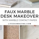 Marble contact paper desk makeover