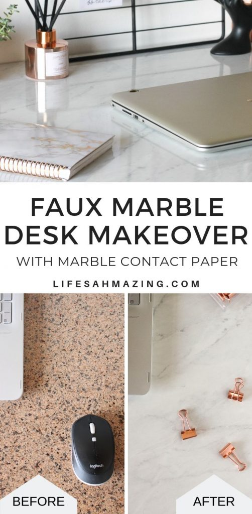 You can give your desk or countertop a major makeover with a roll of marble contact paper. Check out the post to see how I transformed an old desk in under an hour.