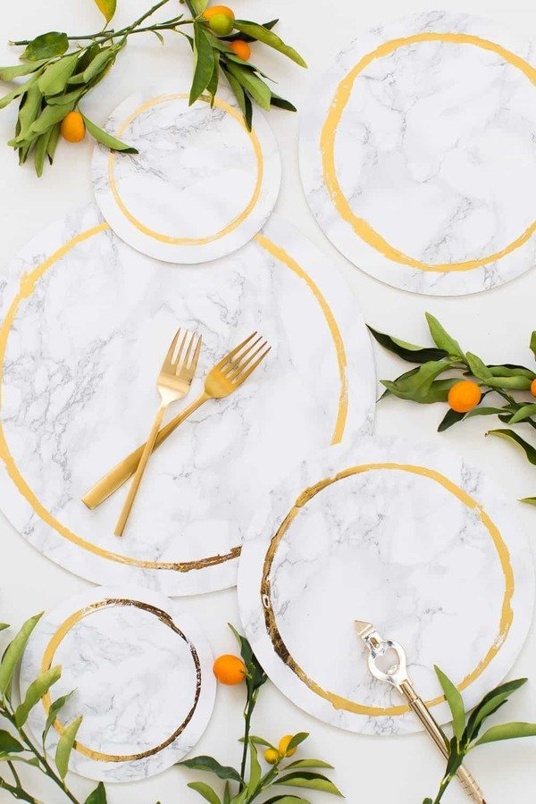 DIY placemats with marble contact paper