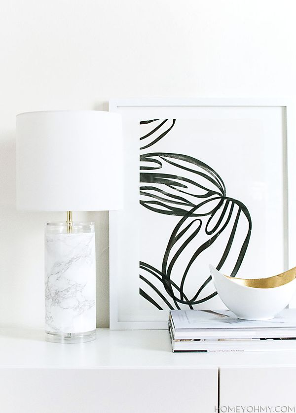 Marble and acrylic lamp makeover