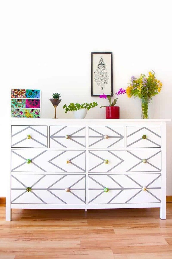 Ikea dresser customised with contact paper