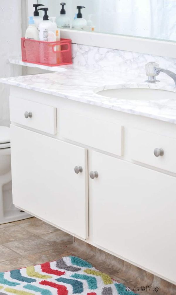 Bather counter makeover with marble contact paper