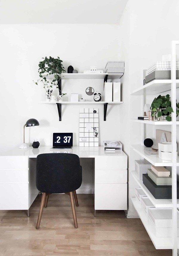 minimalist workspace in living room