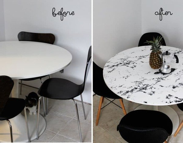 dining table covered with marble contact paper