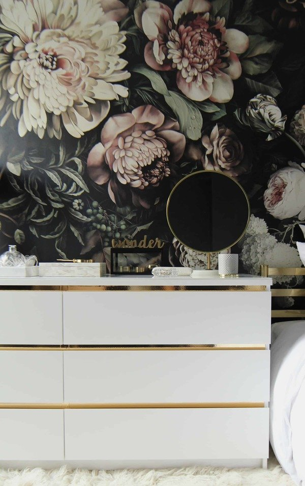 Malm dresser made glam with gold contact paper