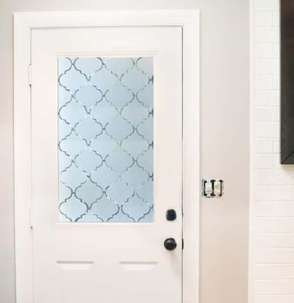 Privacy screen door with frosted contact paper