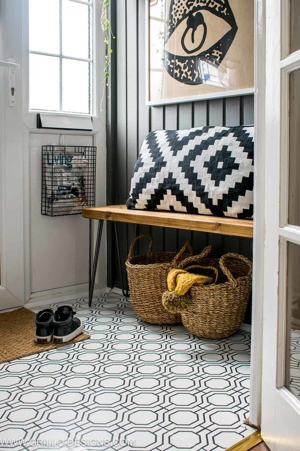 Entryway floor transformed with contact paper