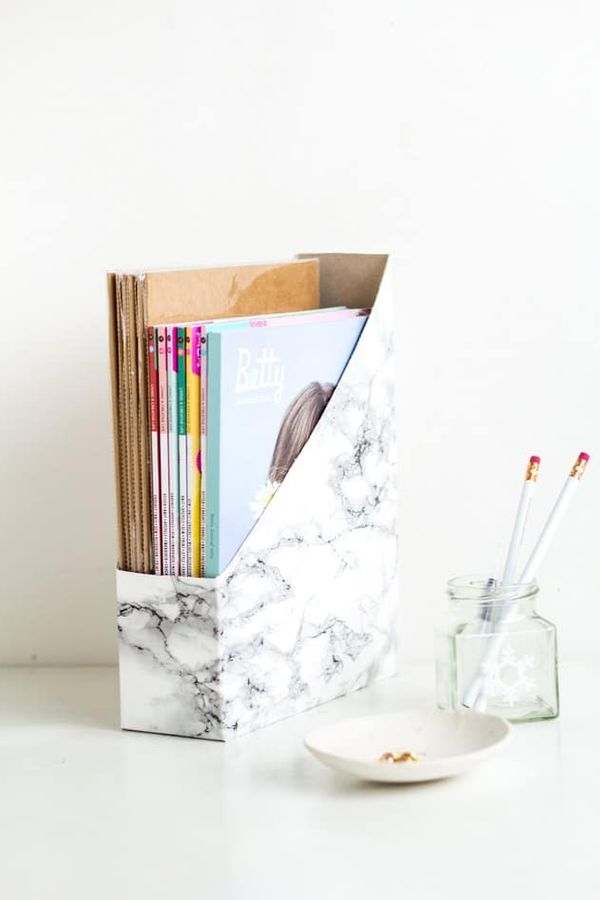Cereal box to marble magazine holder