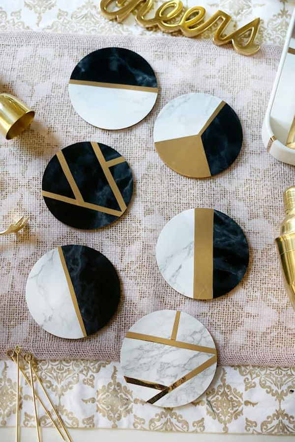 DIY marble and gold coasters