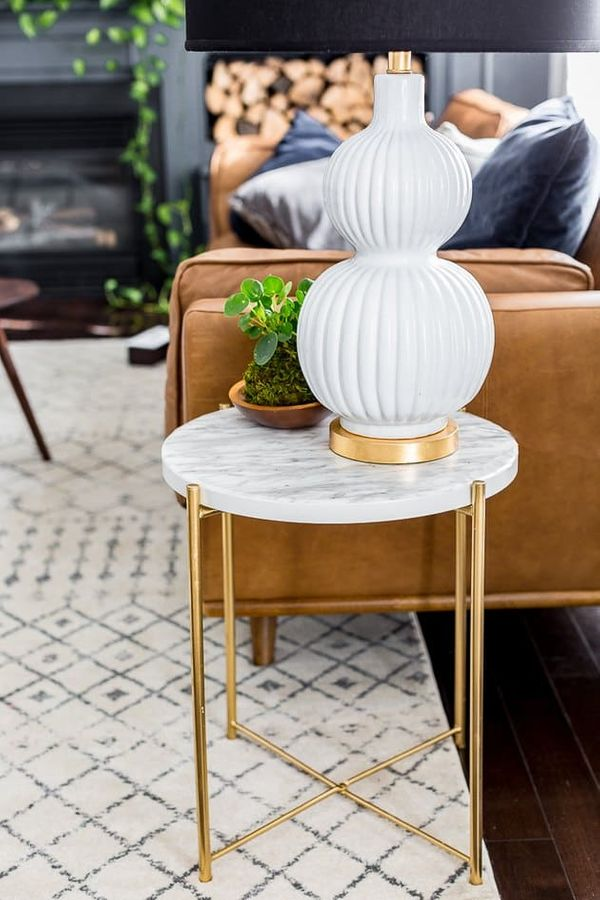 Ikea Hack: Marble and Gold side table with contact paper