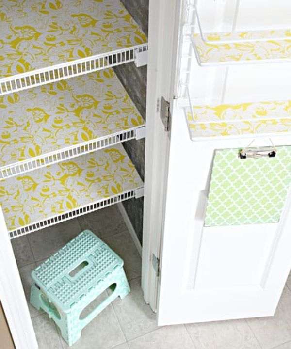 Pantry wire shelves with foam core board and contact paper
