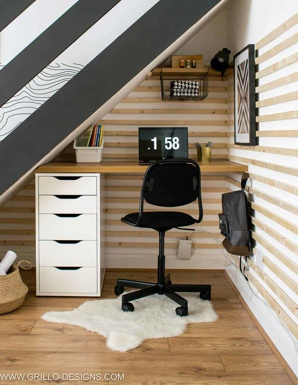 small home office nook under stairs