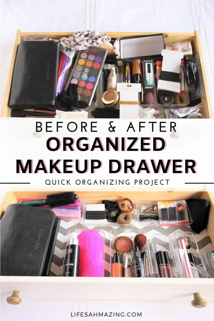 Before and After - Organized Makeup Drawer - pin