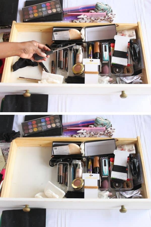 clearing out makeup drawer and purging items (1)