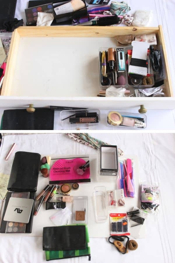 clearing out makeup drawer and purging items (2)