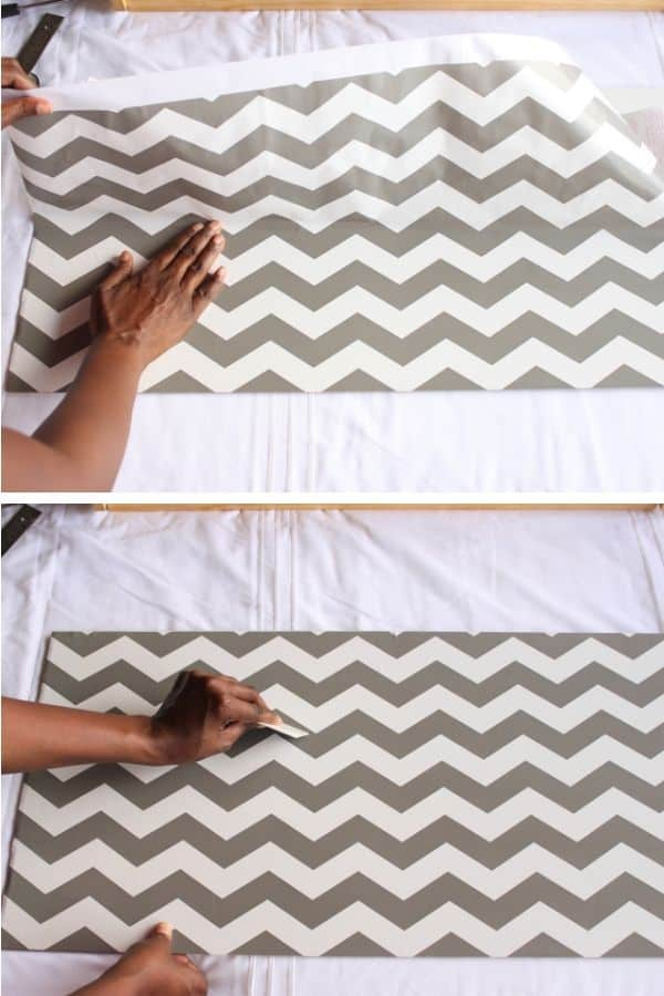 covering the drawer with chevron contact paper (2)