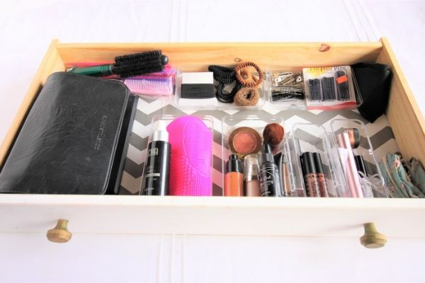 organized makeup drawer - after