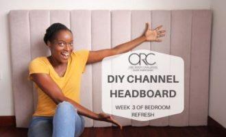 posing with diy channel headboard
