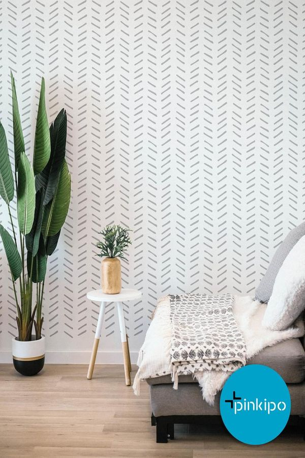 herringbone stencilled wall in living room