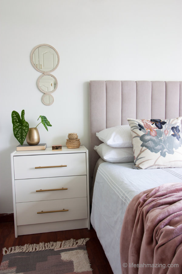 glam bedroom with diy channel tufted headboard